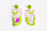 Chartreuse Solar Squiggle Mania Earrings