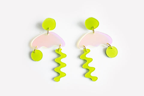 Chartreuse Solar Squiggle Storm Earrings