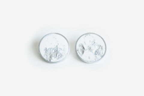 White Concrete Aluminum Earrings - Large Stud - Silver