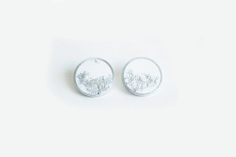 White Concrete Aluminum Earrings - Medium Stud - Silver