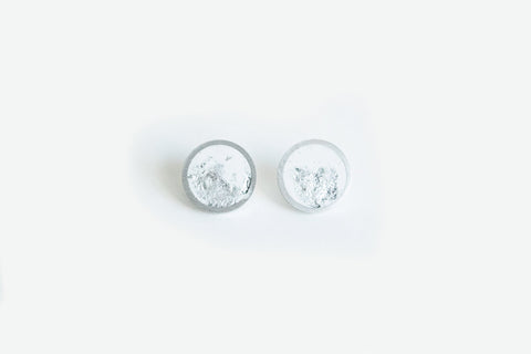 White Concrete Aluminum Earrings - Small Stud - Silver