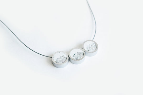 White Concrete Aluminum Necklace - Trio - White Silver