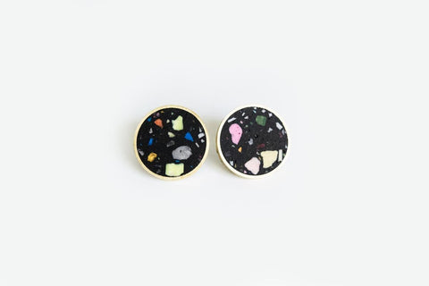 Confetti Concrete Brass Earrings - Medium Stud - Black