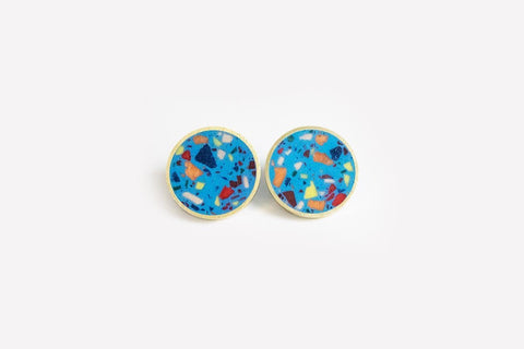 Confetti Concrete Brass Earrings - Medium Stud - Blue
