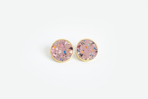 Confetti Concrete Brass Earrings - Medium Stud - Pink