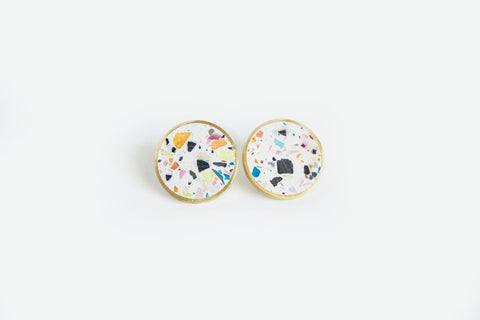 Confetti Concrete Brass Earrings - Medium Stud - White