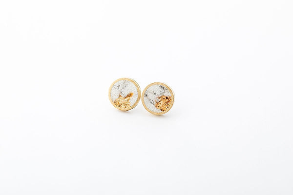 Marble Concrete Brass Earrings - Medium Stud - Gold