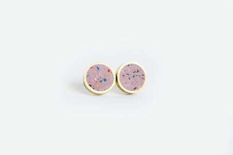 Confetti Concrete Brass Earrings - Small Stud - Pink