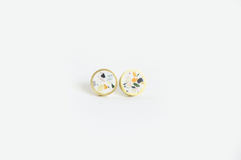 Confetti Concrete Brass Earrings - Small Stud - White