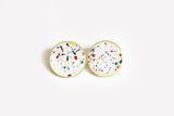 Concrete Confetti Framed Earrings - X Large Stud