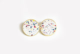 Confetti Concrete Brass Earrings - X Large Stud - White