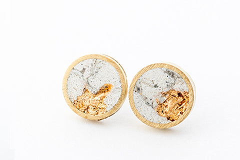 Marble Concrete Brass Earrings - X Large Stud - Gold