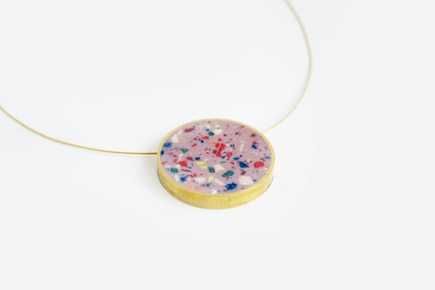 Confetti Concrete Brass Necklace - Large - Pink