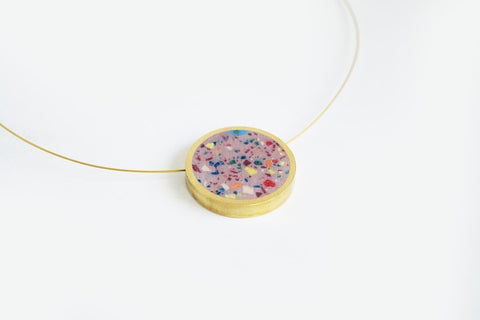 Confetti Concrete Brass Necklace - Circle - Medium - Pink