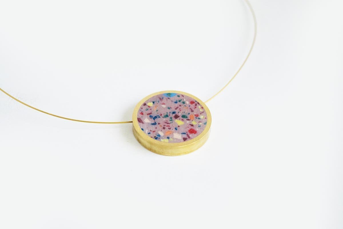 Concrete Confetti Framed Necklace - Circle - Medium