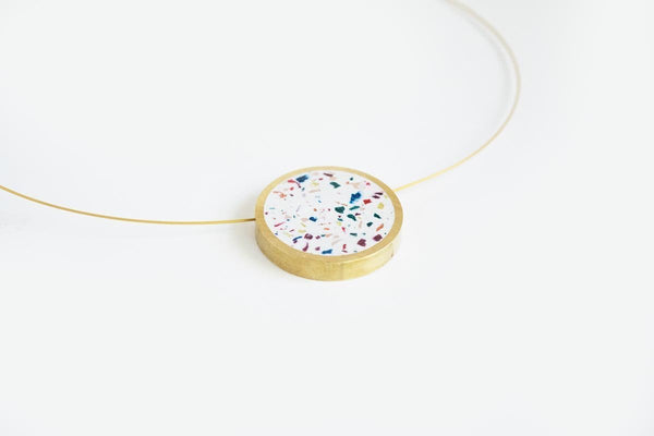 Confetti Concrete Brass Necklace - Circle - Medium - White
