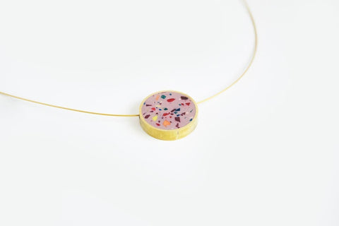 Confetti Concrete Brass Necklace - Circle - Small - Pink