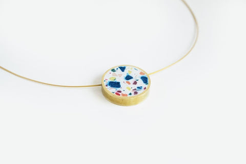 Confetti Concrete Brass Necklace - Circle - Small - White