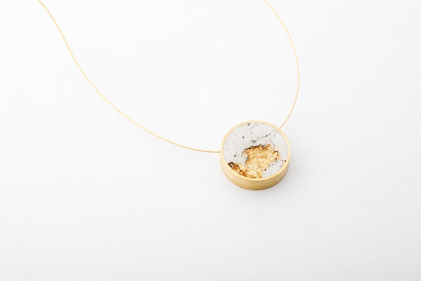 Marble Concrete Brass Necklace - Circle - Small - Gold