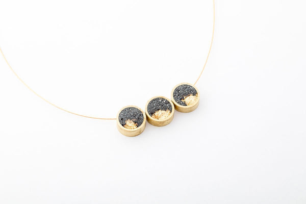 Concrete Brass Necklace - Trio - Gold