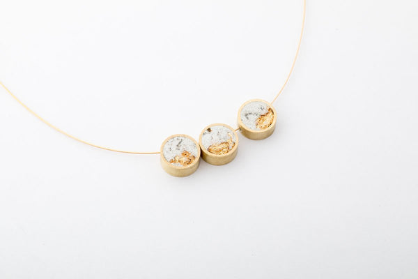 Marble Concrete Brass Necklace - Trio - Gold