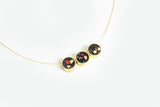 Confetti Concrete Brass Necklace - Trio - Black
