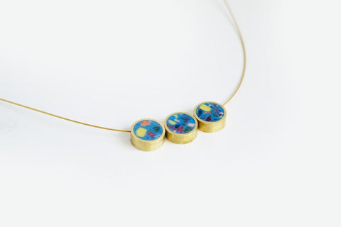 Confetti Concrete Brass Necklace - Trio - Blue