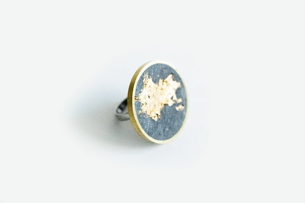 Concrete Brass Ring - Large - Gold