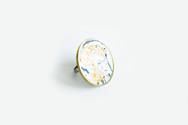 Marble Concrete Brass Ring - Large - Marble Gold