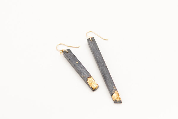 Concrete Fractured Earrings - Asymmetric - Gold