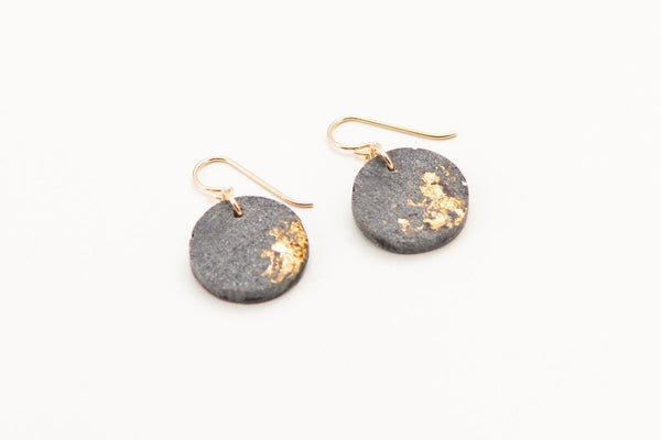 Concrete Fractured Earrings - Circle - Gold