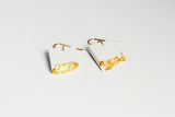White Concrete Fractured Earrings - Rectangle - Gold