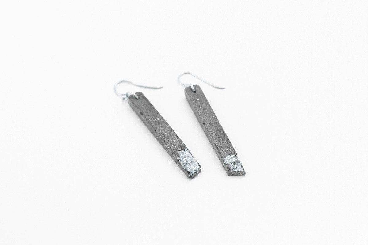 Concrete Fractured Earrings - Skinny 2 Inch