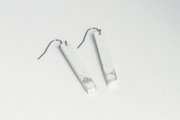 White Concrete Fractured Earrings - Skinny 2 Inch - Silver