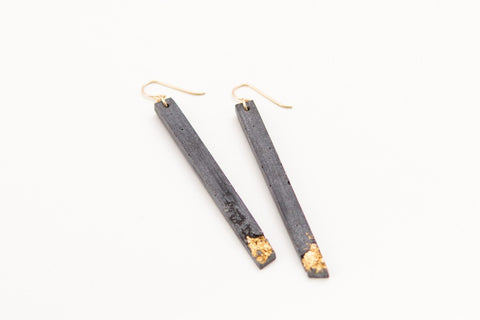 Concrete Fractured Earrings - Skinny 3 Inch - Gold