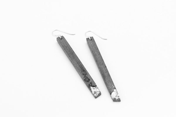 Concrete Fractured Earrings - Skinny 3 Inch - Silver