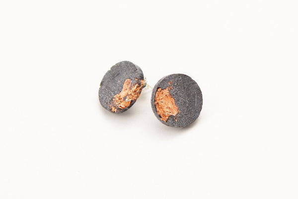 Concrete Fractured Earrings - Large Stud - Copper