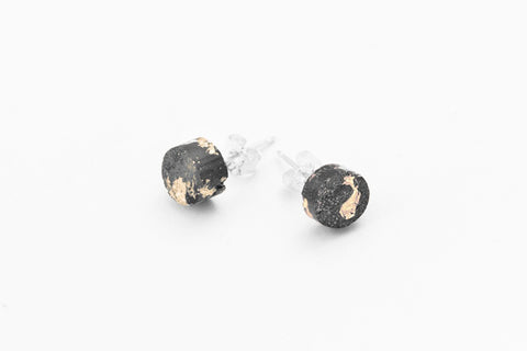 Concrete Fractured Earrings - Small Stud - Gold