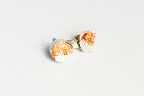 White Concrete Fractured Earrings - Small Stud - Copper