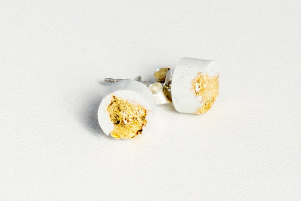 White Concrete Fractured Earrings - Small Stud - Gold