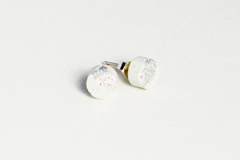 White Concrete Fractured Earrings - Small Stud - Silver