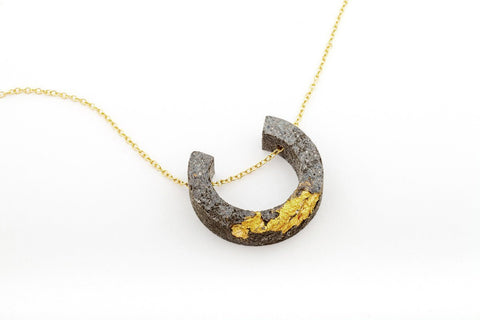 Concrete Fractured Necklace - Arc - Gold