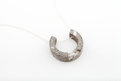 Concrete Fractured Necklace - Arc - Silver