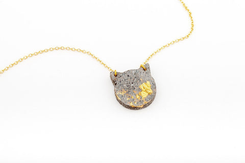 Concrete Fractured Necklace - Cat - Gold