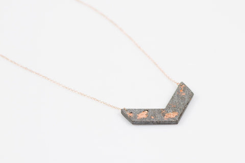Concrete Fractured Necklace - Chevron - Copper