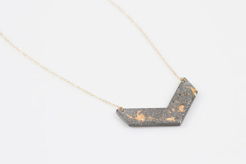 Concrete Fractured Necklace - Chevron - Gold