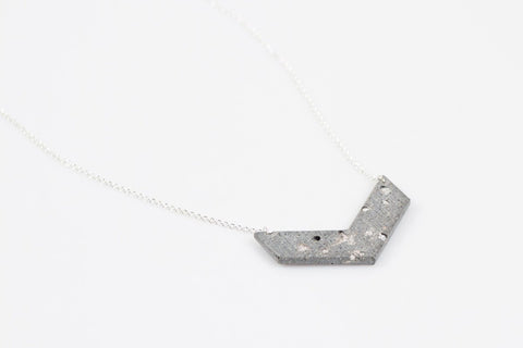Concrete Fractured Necklace - Chevron - Silver
