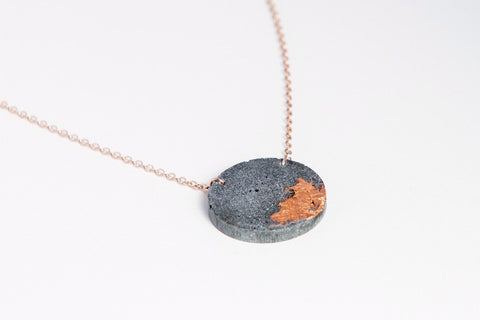 Concrete Fractured Necklace - Circle - Copper