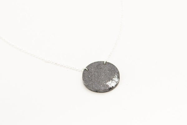 Concrete Fractured Necklace - Circle - Silver
