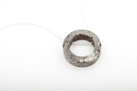 Concrete Fractured Necklace - Open Circle - Silver